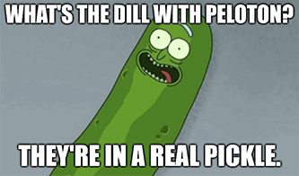 Dill with peloton in a real pickle meme