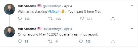 vik sharma bitcoin dow tweet