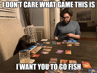 I don't care what game go fish cat MAT meme