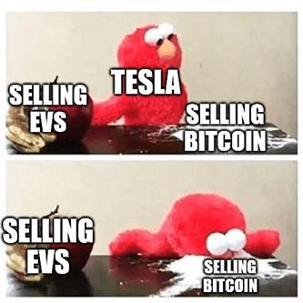 Tesla selling EVs vs selling bitcoin elmo meme