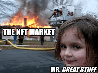 NFT market disaster girl sells meme