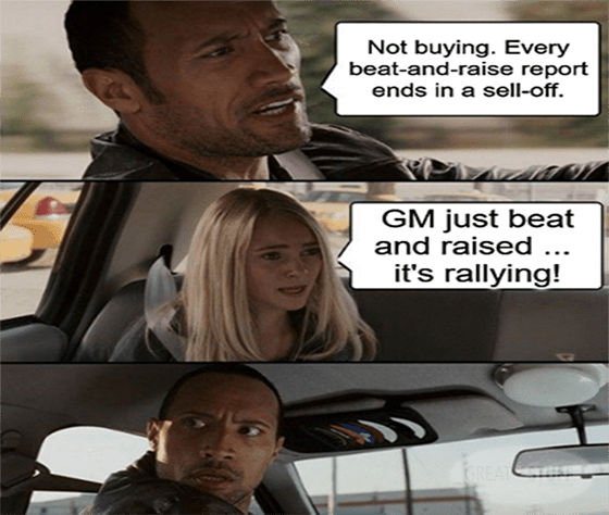GM beat and raise it's rallying no sell-off meme big