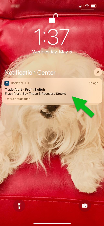 sample trade alert notification banyan hill app