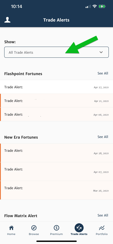 Banyan hill app all trade alerts screenshot