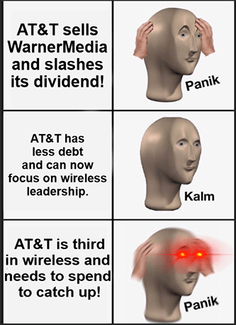AT&T sells Warnermedia less debt needs to spend panik meme