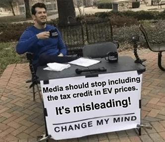 Misleading media marketing EV prices tax credit meme