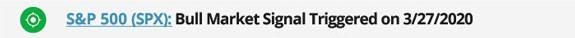 sp500 bull market signal March 2020