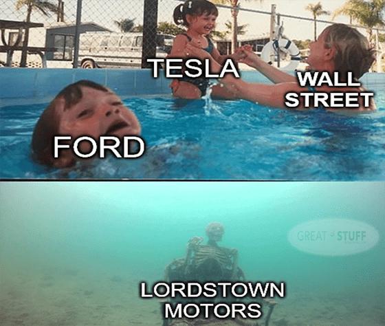 Wall Street with Tesla vs Ford vs Lordstown meme big
