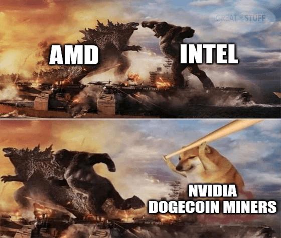 AMD vs Intel vs Nvidia dogecoin miners meme big