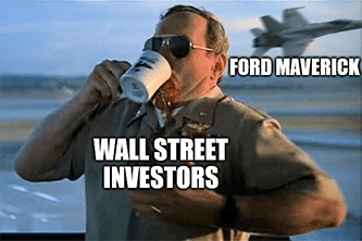 Ford Maverick buzzes the Wall Street tower meme