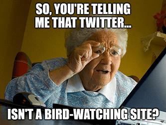 Twitter isn't a bird-watching site? grandma meme