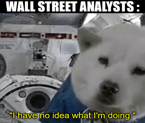 Wall Street analysts dog in space no idea what I'm doing meme big