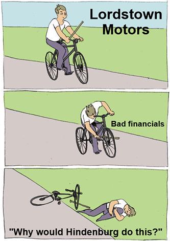 Lordstown bike bad financials Hindenburg meme