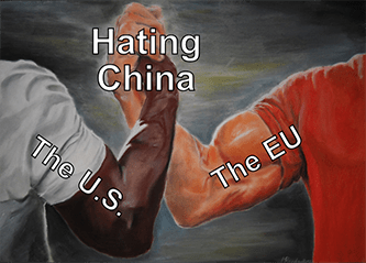 Hating China the U.S. and the EU agree handshake meme