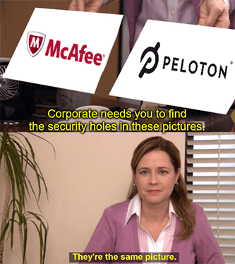 McAfee Peloton security holes spot difference meme