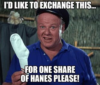 Sock market exchange for one share of Hanes meme