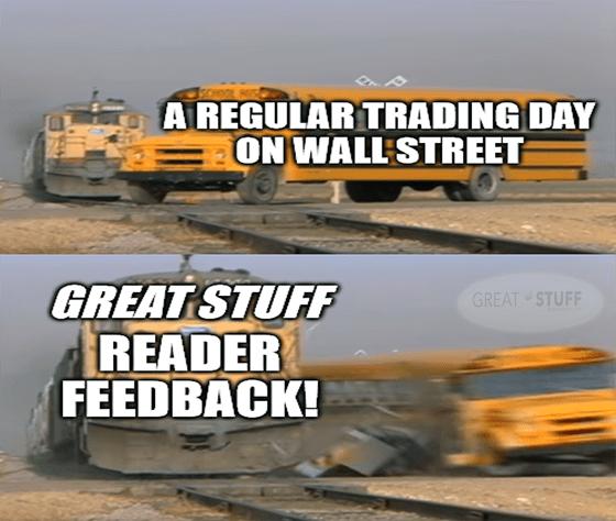 Regular day on Wall Street Reader Feedback bus train meme big