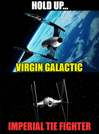 Virgin Galactic ship looks like Tie Fighter meme