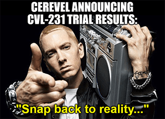 Cerevel announcing CVL-231 trial snap back reality meme
