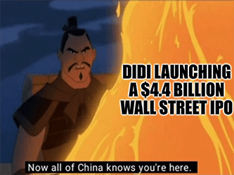 $4.4 billion IPO DIDI China crackdown meme - wall street flatlines edition