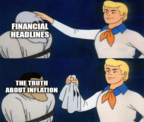 Financial headlines truth about inflation Scooby Doo unmasked meme big