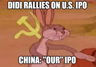 Didi rallies on U.S. IPO China Our IPO meme