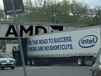 Intel truck vs AMD bridge trade meme