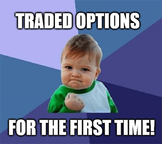 Success kid traded options for the first time meme
