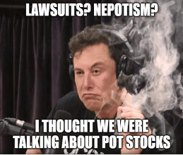 lawsuits nepotism Elon thought we were talking pot stocks meme