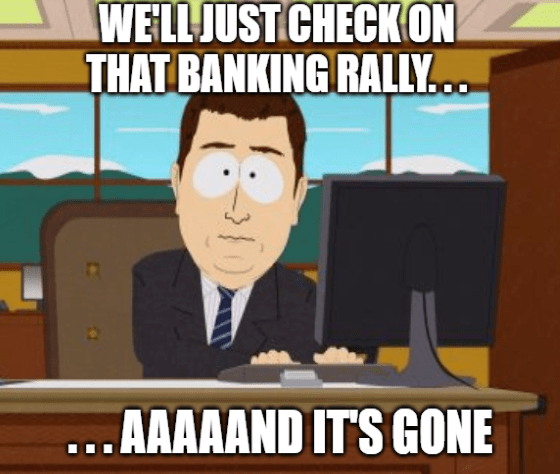 check on the banking rally and it's gone meme big
