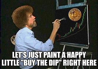 Just paint happy little buy the dip BTC Bob Ross meme