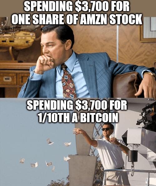 One share AMZN $3700 1/10th bitcoin meme