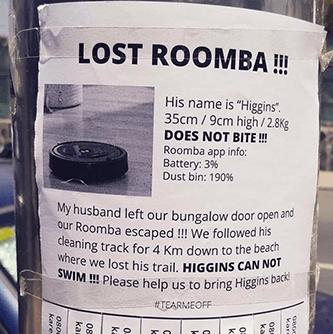 Lost roomba doesn't bite flyer IRBT earnings wall street meme