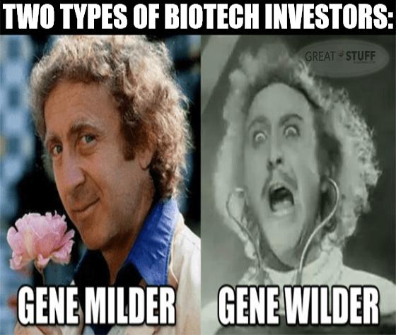 Gene Milder vs Gene Wilder biotech investing MRNA Sanofi meme big