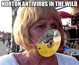 Norton antivirus in the wild mask Avast meme