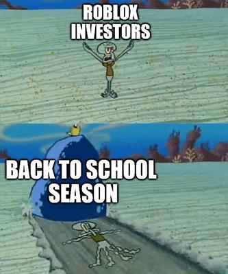 RBLX investors Squidward back-to-school rock meme