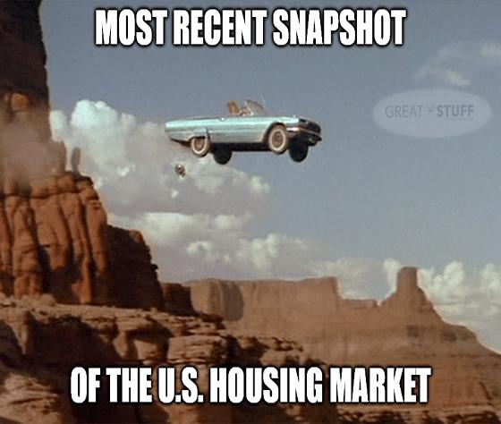 Thelma Louise housing market off a cliff meme big