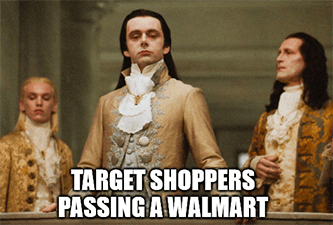 Target shoppers passing Walmart aristocrat meme