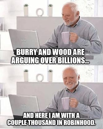 Burry Wood arguing over billions thousand in Robinhood meme