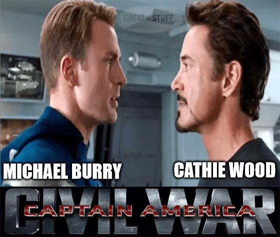 Michael Burry vs Cathie Wood war meme big