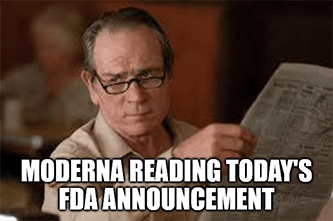 Moderna reading Pfizer's FDA approval announcement meme