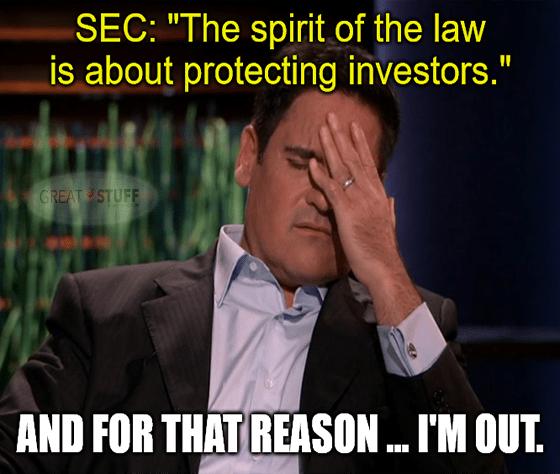 SEC Mark Cuban spirit of law protecting investors I'm out meme big