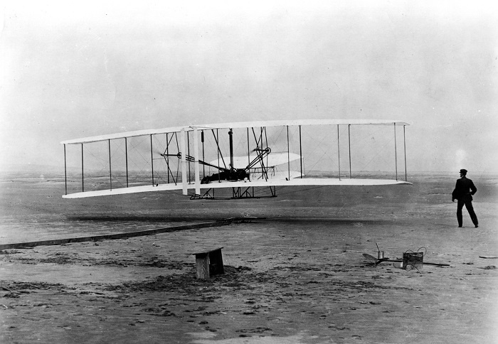 The Wright brothers at Kitty Hawk on December 17, 1903