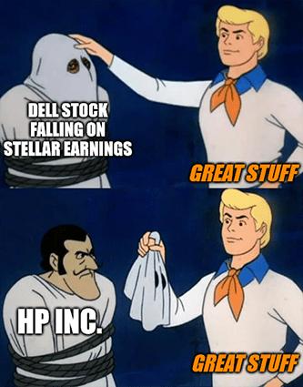 Dell stock falling stellar earnings HP Scooby doo meme - August Apple App Store