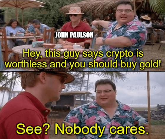 Paulson says crypto's worthless nobody cares meme big