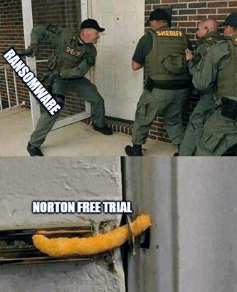 Ransomware vs Cheeto lock Norton CRWD cybersecurity meme