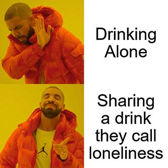 Piano man Drake sharing drink loneliness meme