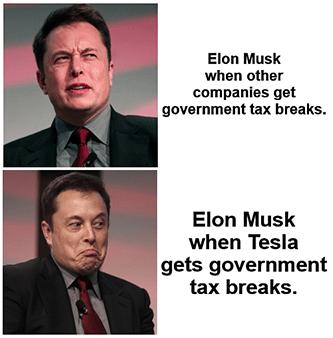 Elon Musk companies tax breaks credits EV bill meme