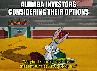 Alibaba Investors Options Bugs Bunny meme
