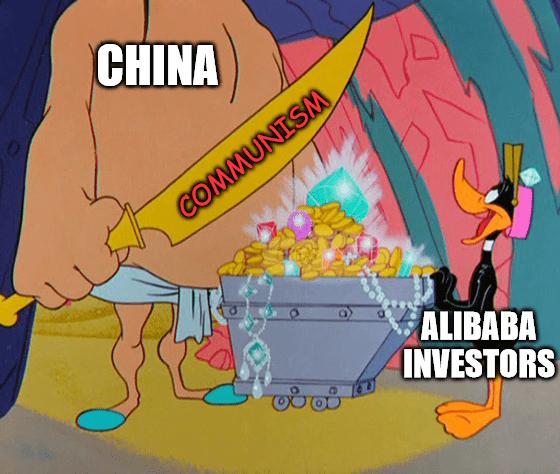Alibaba Investors Daffy Duck meme big
